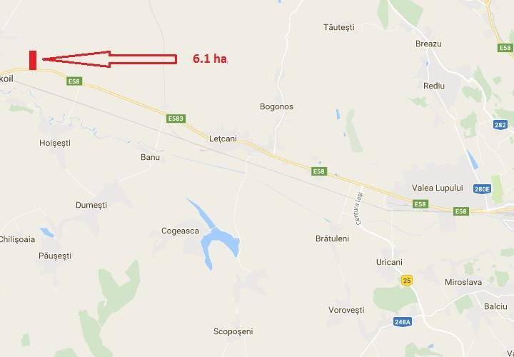 Teren pretabil pentru utilizare industriala la 21 km de centrul Iasiului.